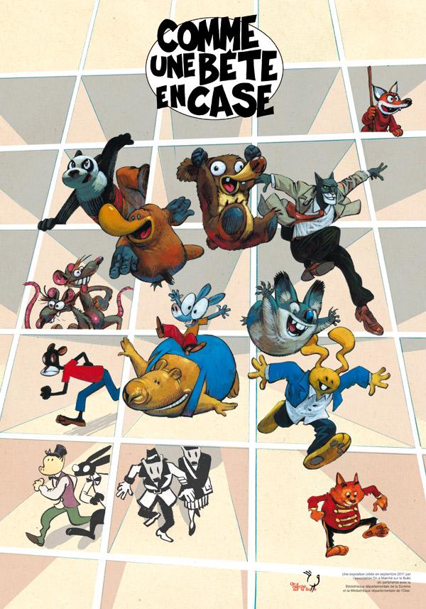 Comme une bête en case, dessin de Yoann, exposition tous publics interactive sur la bande dessinée animalière