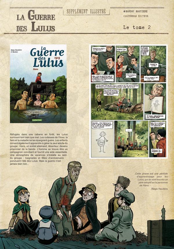 Un panneau de l'exposition La Guerre des Lulus - Hautière et Hardoc - éd. Casterman