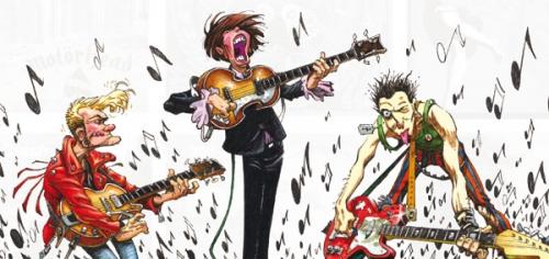 Riff et les guitaristes, les bandes dessinées sont l'autre nom du rock