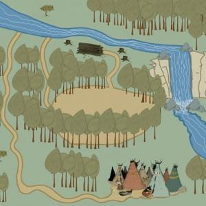 Le tapis narratif Anuki, la révolte des castors, d'après la bande dessinée éponyme de Frédéric Maupomé et Stéphane Sénégas, éd. de la Gouttière